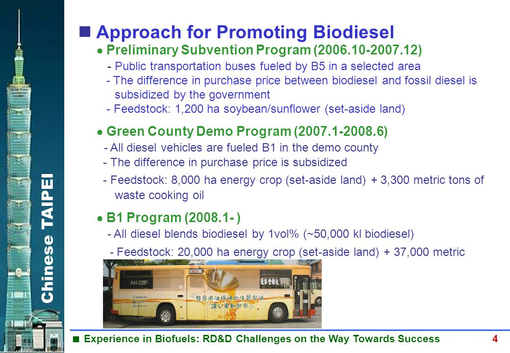 Chinese TAIPEI  Experience in Biofuels: RD&D Challenges on the Way Towards Success 4 BIODIESEL Approach for Promoting Biodiesel  Preliminary Subvent