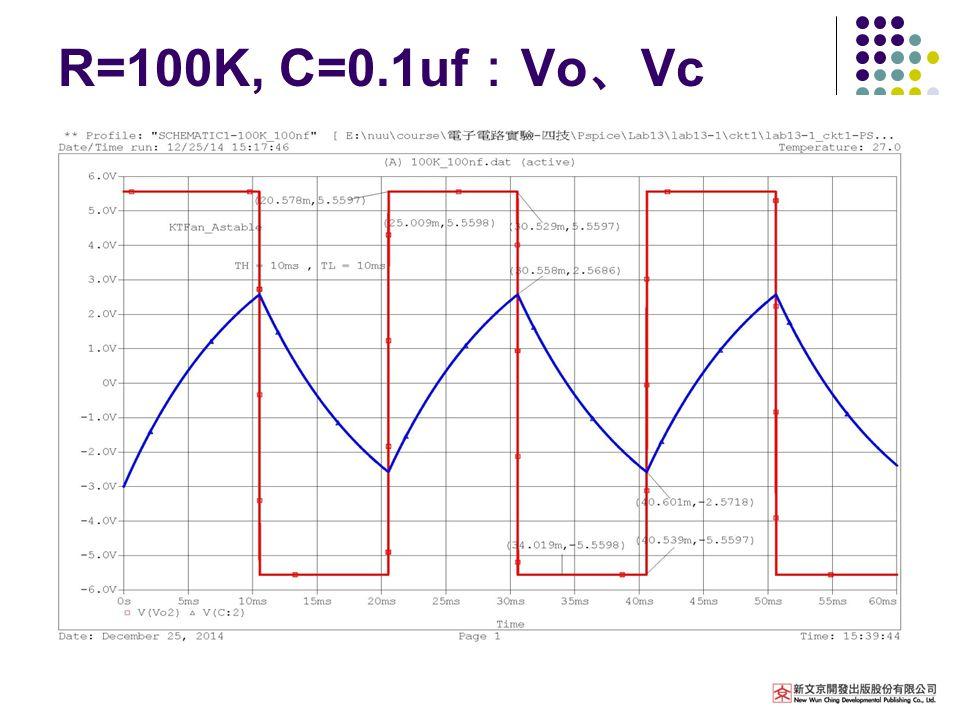 R=100K, C=0.1uf : Vo 、 Vc