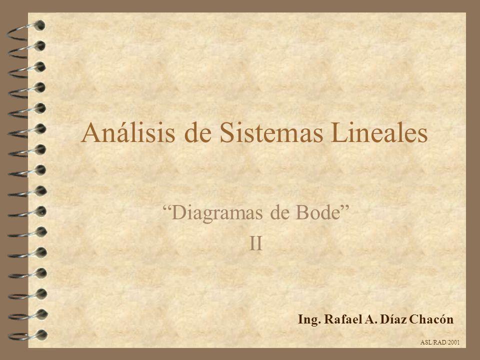 Análisis de Sistemas Lineales Diagramas de Bode II Ing. Rafael A. Díaz Chacón ASL/RAD/2001