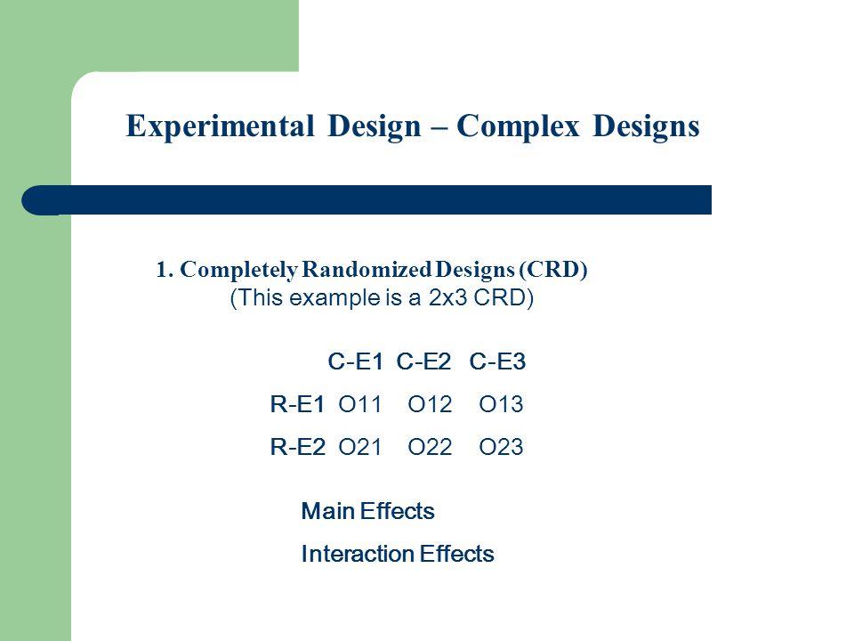 Experimental Design Complex Designs (cont.) 2.Incomplete Designs (IRD) Split Plot Design (This example is a 2x3 SPD) C-E1 C-E2 C-E3 R-E1 - O12 O13 R-E2 O21 O22 -