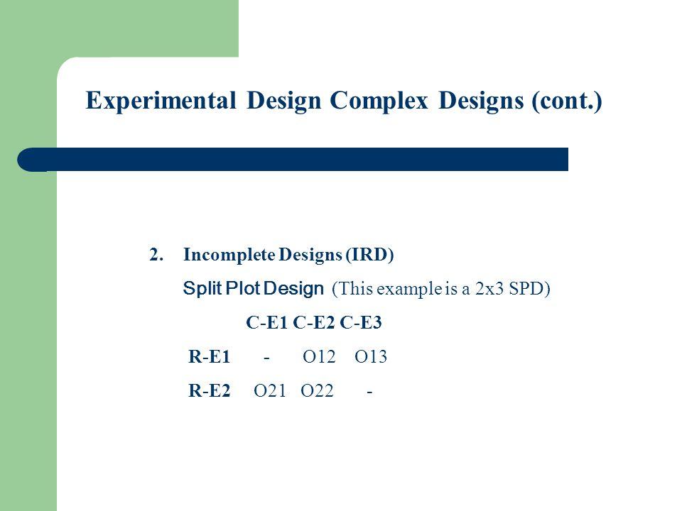 Experimental Design Complex Designs (cont.) 3.