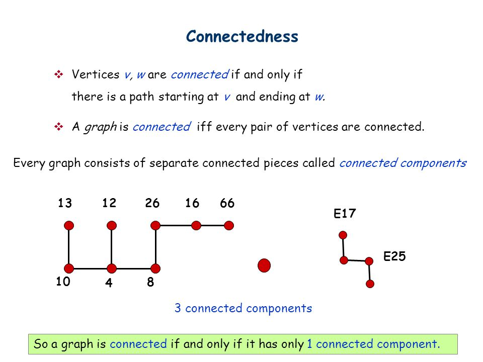 Connectedness  Vertices v, w are connected if and only if there is a path starting at v and ending at w.