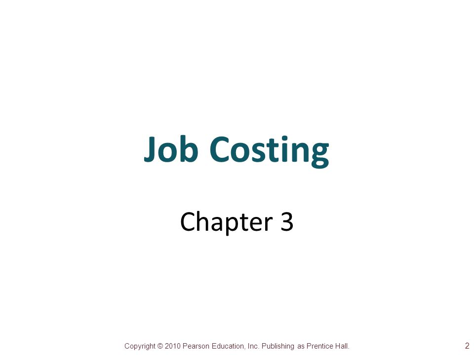 Job Costing Chapter 3 2