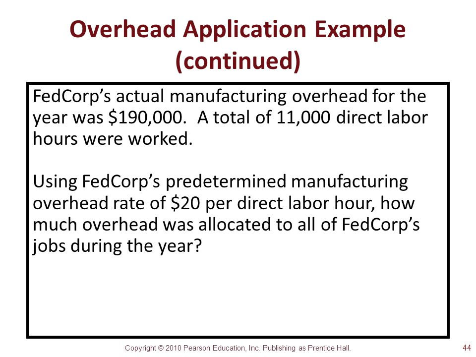 Copyright © 2010 Pearson Education, Inc. Publishing as Prentice Hall. Overhead Application Example (continued) FedCorp's actual manufacturing overhead