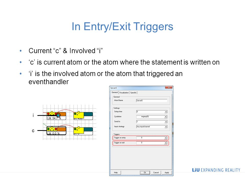 In Entry/Exit Triggers Current c & Involved i 'c' is current atom or the atom where the statement is written on 'i' is the involved atom or the atom that triggered an eventhandler i c