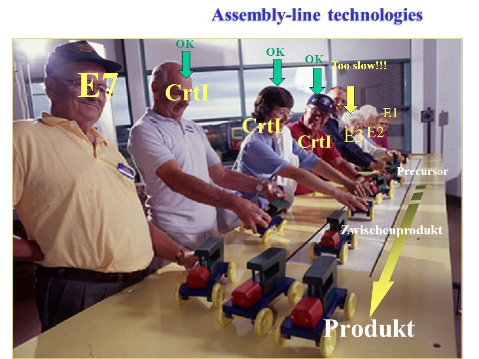 E2 E1 E3 CrtI E7 Precursor Produkt Zwischenprodukt Assembly-line technologies Too slow!!! OK CrtI