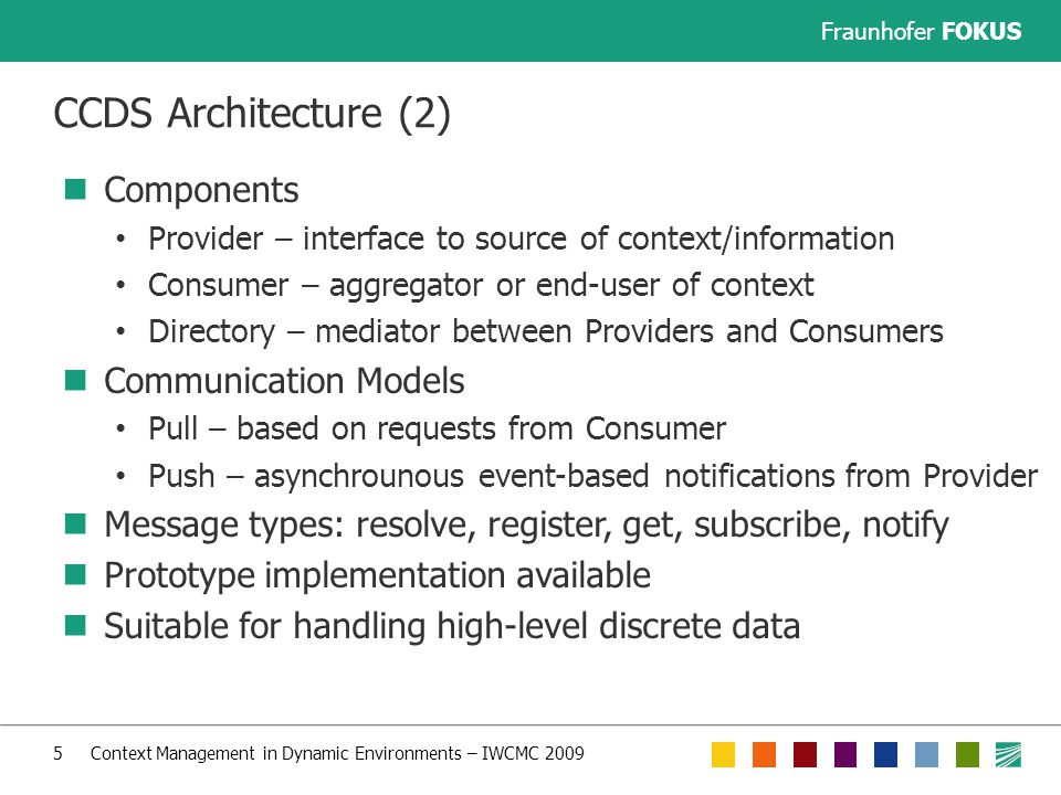 Fraunhofer FOKUS 16 Context Management in Dynamic Environments – IWCMC 2009 Acknowledgement This work was partly performed in project E3 which has received research funding from the Community s Seventh Framework programme.