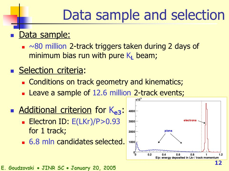 12 Data sample: ~80 million 2-track triggers taken during 2 days of minimum bias run with pure K L beam; Selection criteria: Conditions on track geometry and kinematics; Leave a sample of 12.6 million 2-track events; Additional criterion for K e3 : Electron ID: E(LKr)/P>0.93 for 1 track; 6.8 mln candidates selected.