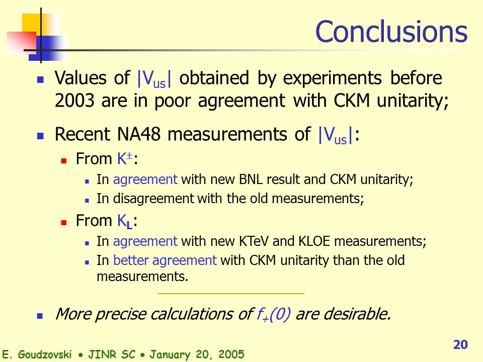 20 Conclusions Values of |V us | obtained by experiments before 2003 are in poor agreement with CKM unitarity; Recent NA48 measurements of |V us |: From K  : In agreement with new BNL result and CKM unitarity; In disagreement with the old measurements; From K L : In agreement with new KTeV and KLOE measurements; In better agreement with CKM unitarity than the old measurements.