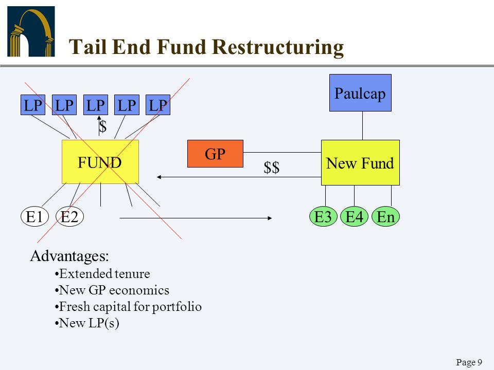 Page 9 Tail End Fund Restructuring LP FUND E1E2E3EnE4 GP New Fund Paulcap $$ Advantages: Extended tenure New GP economics Fresh capital for portfolio