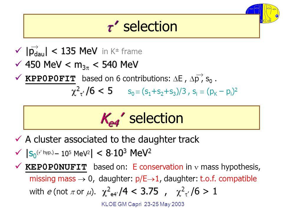 KLOE GM Capri 23-25 May 2003  '  ' selection |p dau | < 135 MeV |p dau | < 135 MeV in K ± frame 450 MeV < m 3  < 540 MeV KPP0P0FIT based on 6 contributions:  E,  p, s 0.