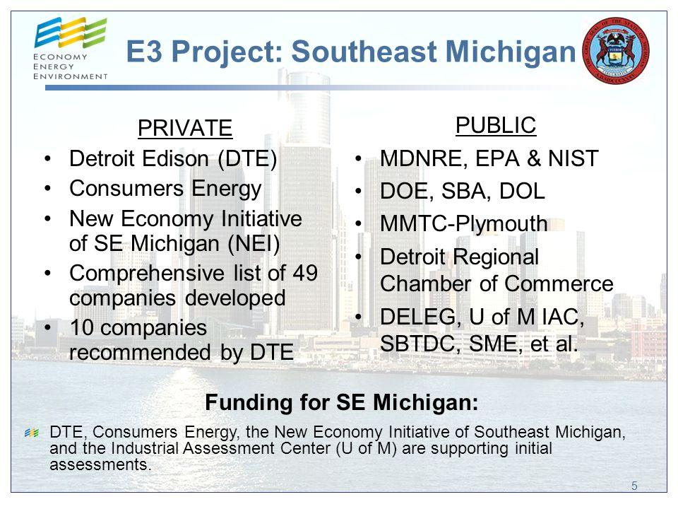 E3 Project: Southeast Michigan 55 PRIVATE Detroit Edison (DTE) Consumers Energy New Economy Initiative of SE Michigan (NEI) Comprehensive list of 49 c