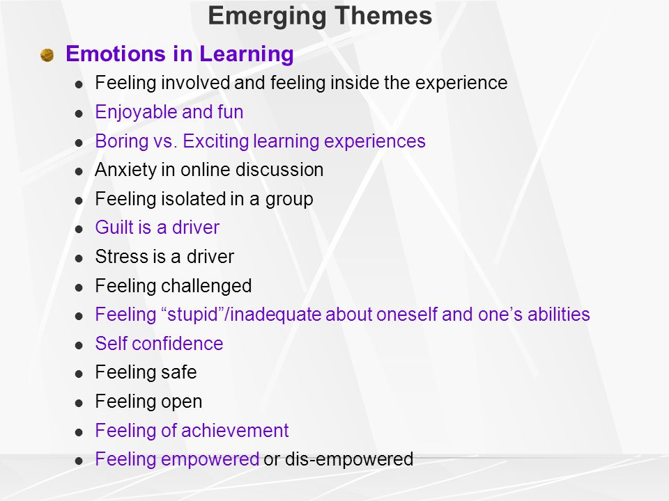 Emerging Themes Emotions in Learning Feeling involved and feeling inside the experience Enjoyable and fun Boring vs.