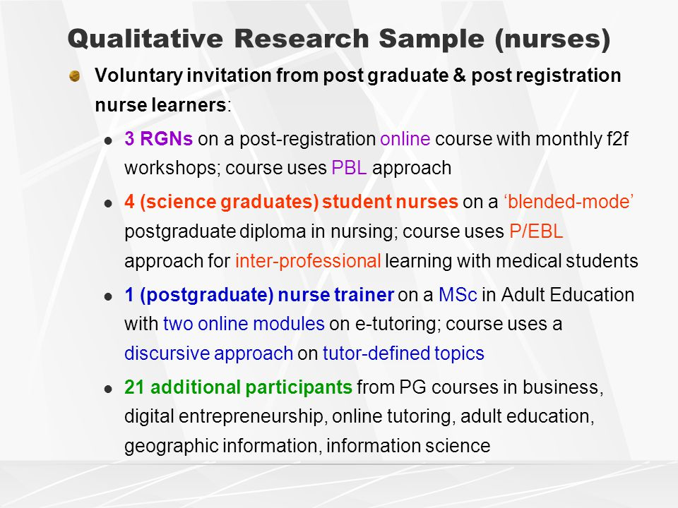 Qualitative Research Sample (nurses) Voluntary invitation from post graduate & post registration nurse learners: 3 RGNs on a post-registration online course with monthly f2f workshops; course uses PBL approach 4 (science graduates) student nurses on a 'blended-mode' postgraduate diploma in nursing; course uses P/EBL approach for inter-professional learning with medical students 1 (postgraduate) nurse trainer on a MSc in Adult Education with two online modules on e-tutoring; course uses a discursive approach on tutor-defined topics 21 additional participants from PG courses in business, digital entrepreneurship, online tutoring, adult education, geographic information, information science