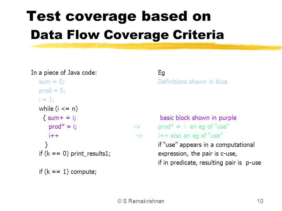© S Ramakrishnan10 Test coverage based on Data Flow Coverage Criteria In a piece of Java code:Eg sum = 0;Definitions shown in blue prod = 0; i = 1; wh