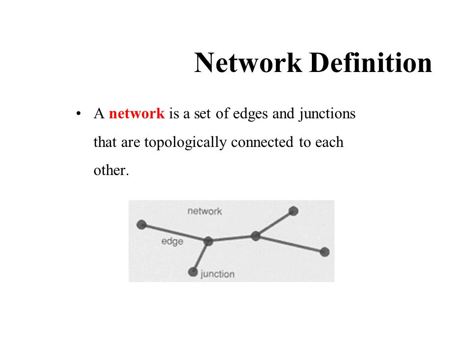 Network Definition A network is a set of edges and junctions that are topologically connected to each other.