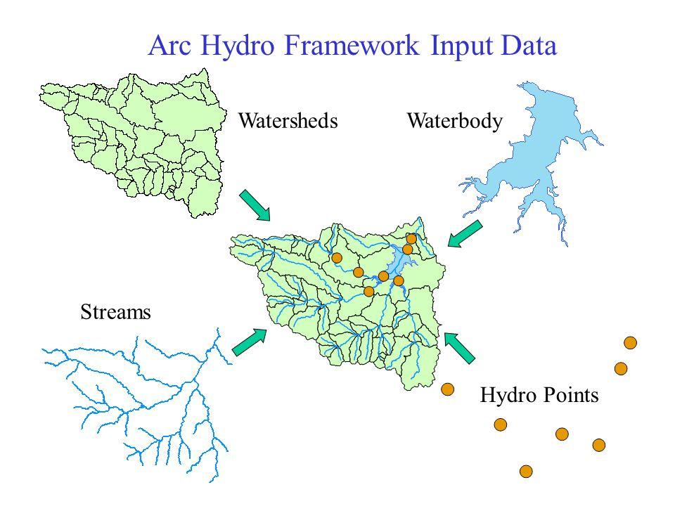 Streams WatershedsWaterbody Hydro Points Arc Hydro Framework Input Data