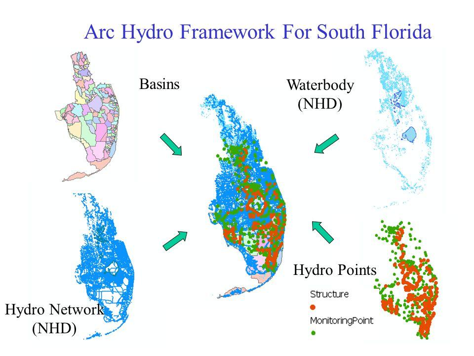 Hydro Network (NHD) Basins Waterbody (NHD) Arc Hydro Framework For South Florida Hydro Points