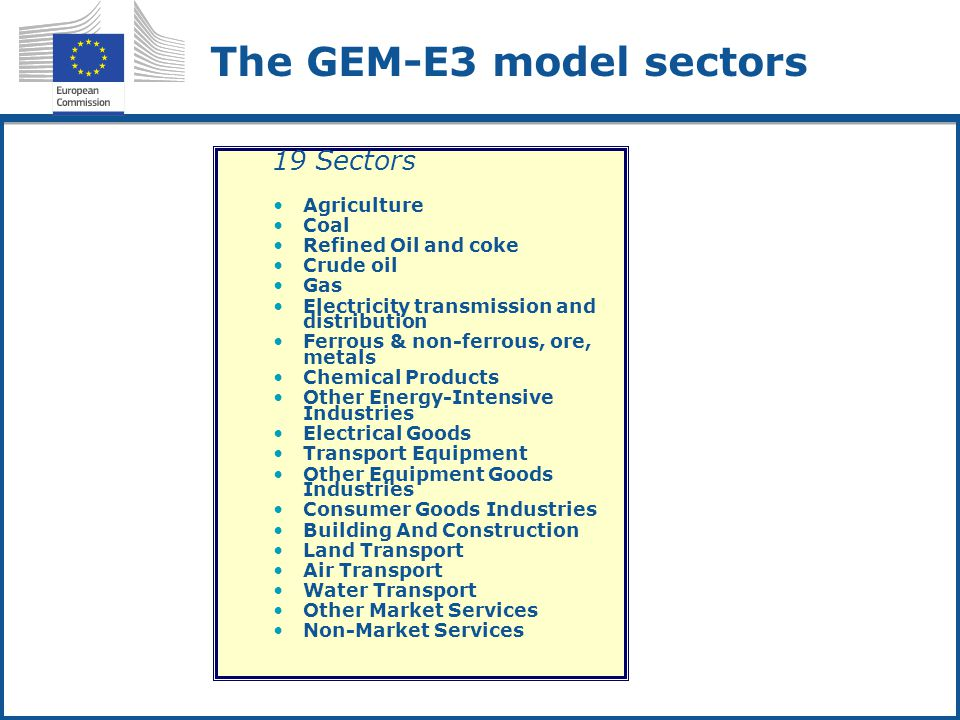 The GEM-E3 model sectors 19 Sectors Agriculture Coal Refined Oil and coke Crude oil Gas Electricity transmission and distribution Ferrous & non-ferrou