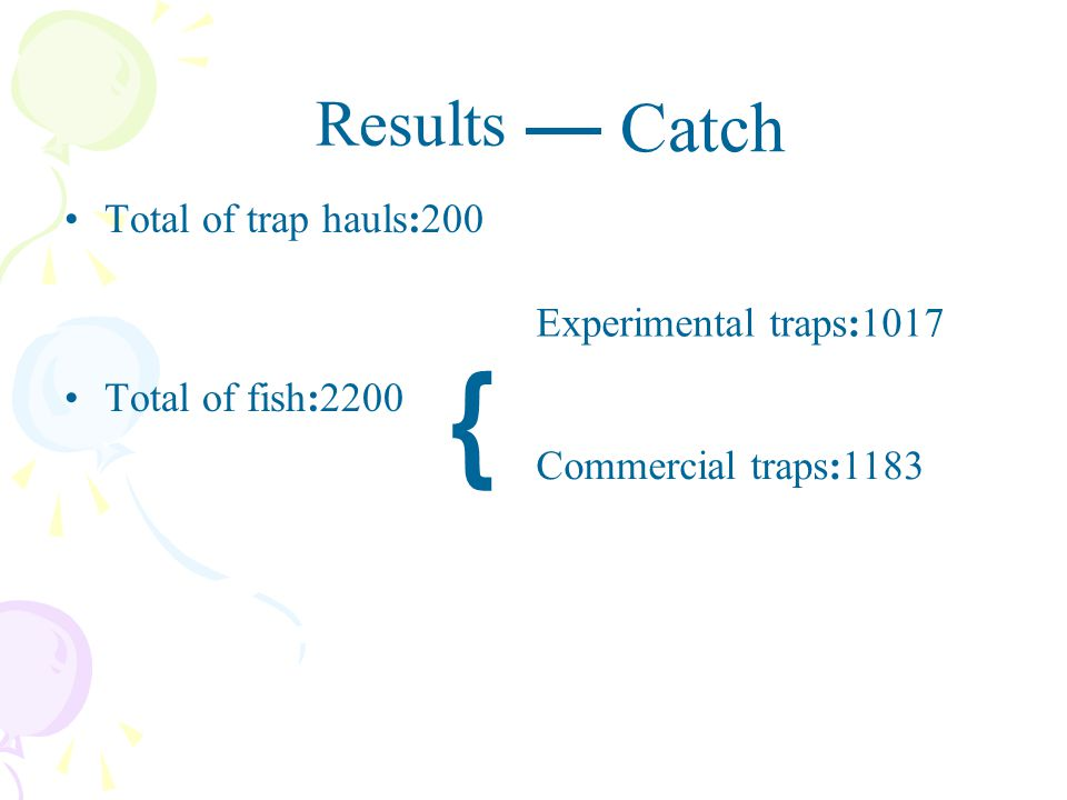 Results Total of trap hauls:200 Total of fish:2200 ﹛ Experimental traps:1017 Commercial traps:1183 Catch