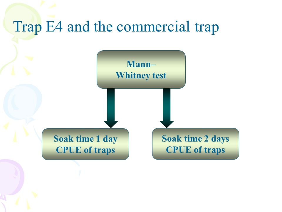 Trap E4 and the commercial trap Mann– Whitney test Soak time 1 day CPUE of traps Soak time 2 days CPUE of traps