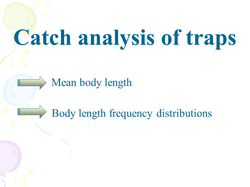 Catch analysis of traps Mean body length Body length frequency distributions