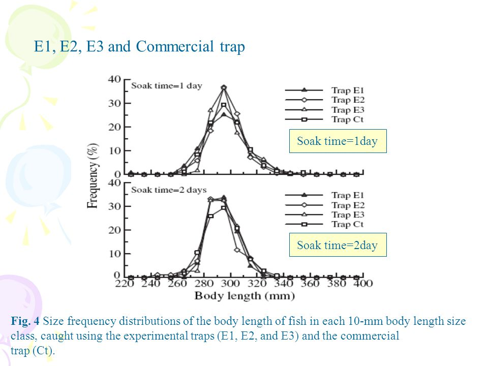 Fig. 4 Size frequency distributions of the body length of fish in each 10-mm body length size class, caught using the experimental traps (E1, E2, and