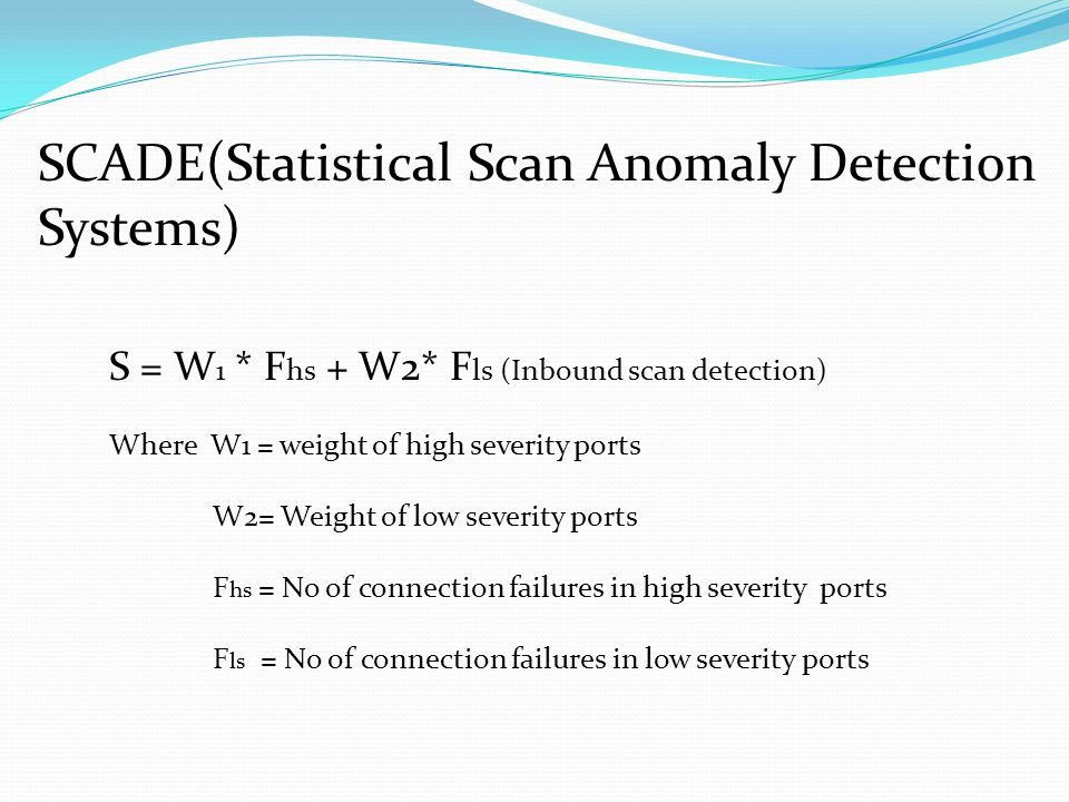 SCADE(Statistical Scan Anomaly Detection Systems) S = W 1 * F hs + W2* F ls (Inbound scan detection) Where W1 = weight of high severity ports W2= Weight of low severity ports F hs = No of connection failures in high severity ports F ls = No of connection failures in low severity ports