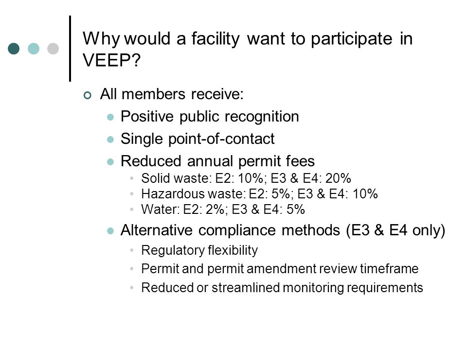Why would a facility want to participate in VEEP.