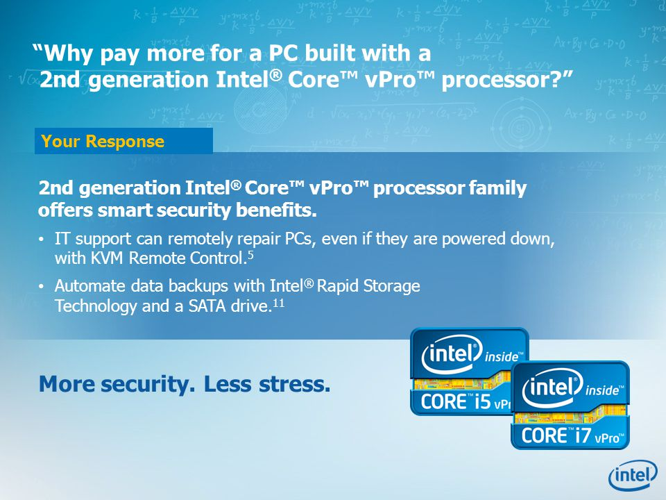 Your Response 2nd generation Intel ® Core™ vPro™ processor family offers smart security benefits.