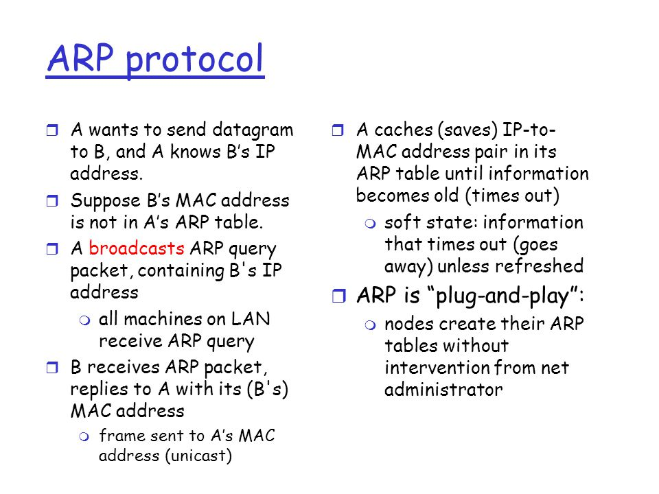 ARP protocol r A wants to send datagram to B, and A knows B's IP address.