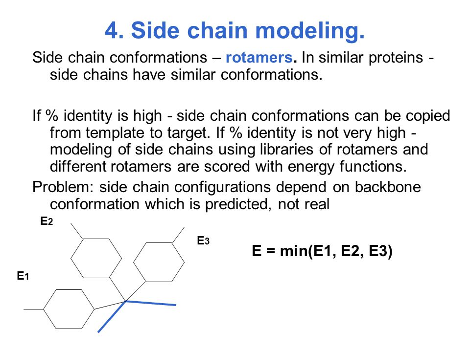 4. Side chain modeling. Side chain conformations – rotamers. In similar proteins - side chains have similar conformations. If % identity is high - sid