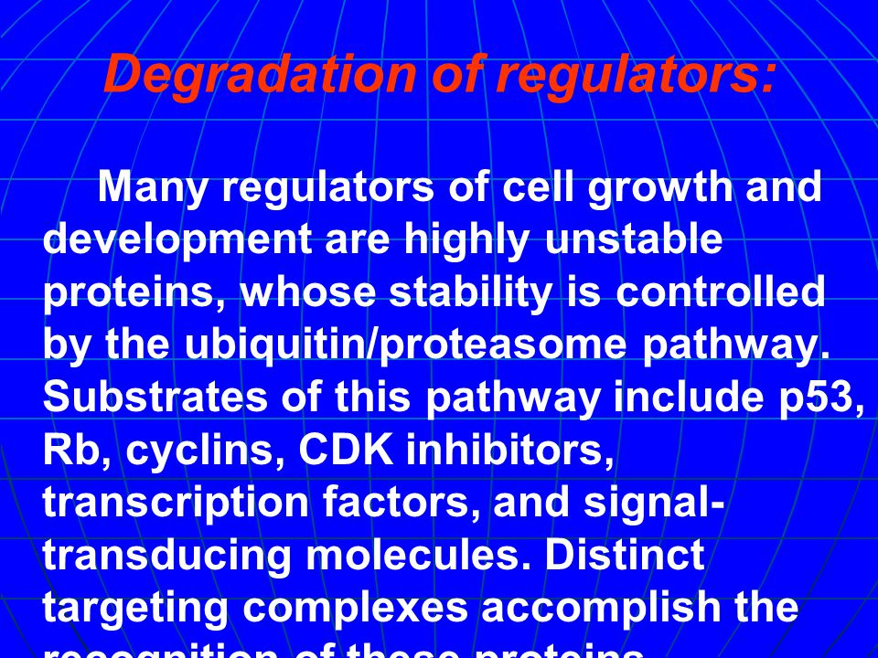 Degradation of regulators: Many regulators of cell growth and development are highly unstable proteins, whose stability is controlled by the ubiquitin/proteasome pathway.