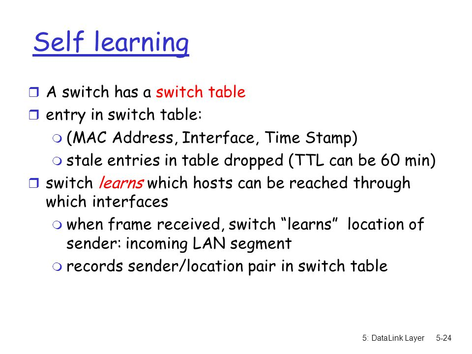 5: DataLink Layer5-24 Self learning r A switch has a switch table r entry in switch table: m (MAC Address, Interface, Time Stamp) m stale entries in table dropped (TTL can be 60 min) r switch learns which hosts can be reached through which interfaces m when frame received, switch learns location of sender: incoming LAN segment m records sender/location pair in switch table