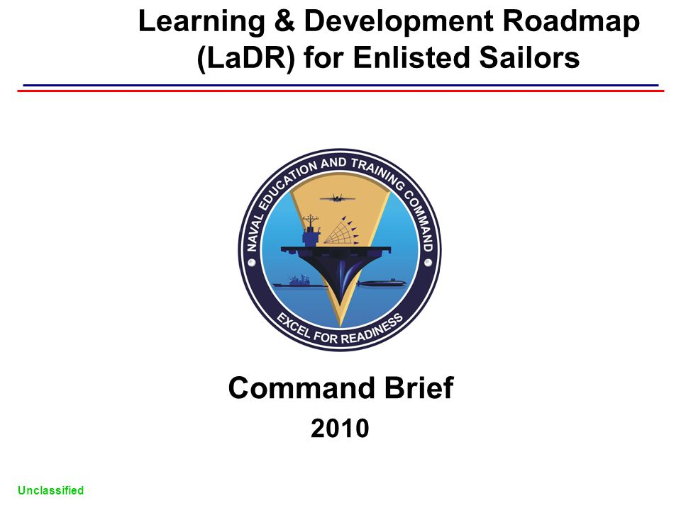 Learning & Development Roadmap (LaDR) for Enlisted Sailors Command Brief 2010 Unclassified