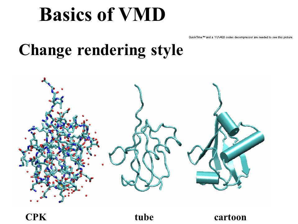 Basics of VMD Change rendering style CPKtubecartoon