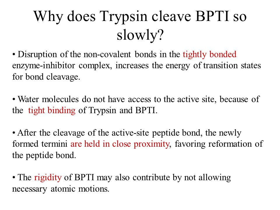 Why does Trypsin cleave BPTI so slowly.