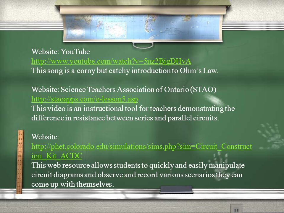 Website: YouTube http://www.youtube.com/watch v=5nz2BjgDHvA This song is a corny but catchy introduction to Ohm's Law.