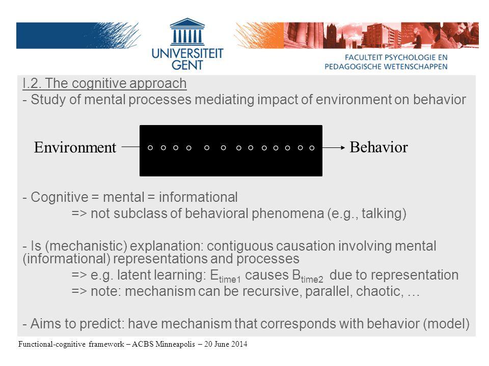 Distinction Procedure, Effect, and Theory – Jan De Houwer - 09/06/2006 I.2.