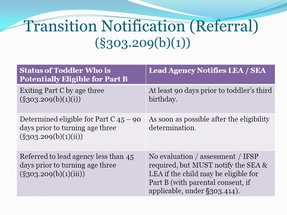 Transition Notification (Referral) (§303.209(b)(1)) Status of Toddler Who is Potentially Eligible for Part B Lead Agency Notifies LEA / SEA Exiting Pa