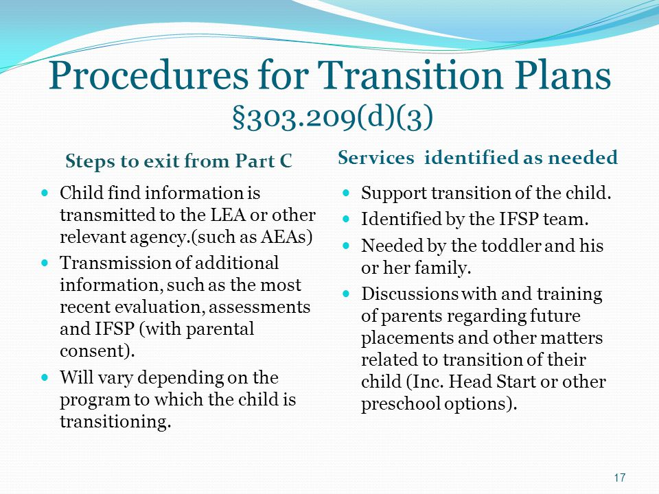 Procedures for Transition Plans §303.209(d)(3) Services identified as needed Child find information is transmitted to the LEA or other relevant agency