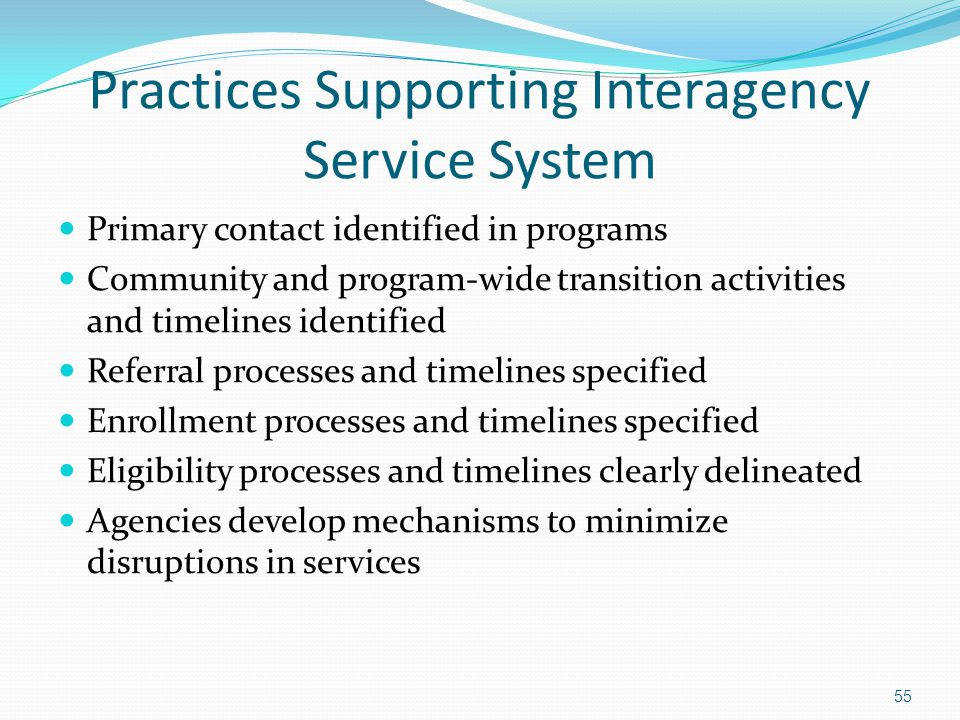 Practices Supporting Interagency Service System Primary contact identified in programs Community and program-wide transition activities and timelines