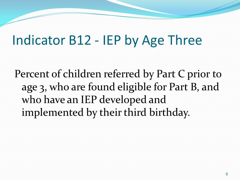 27 Late Referrals from Part C to B - Part B Responsibilities Conduct initial evaluation Develop IEP by 3 rd birthday, if found eligible for Part B Report all in B-12a (unless parent refusal to consent for evaluation caused delay – B12d)  Indicate reason for delay and range of days beyond 3 rd birthday