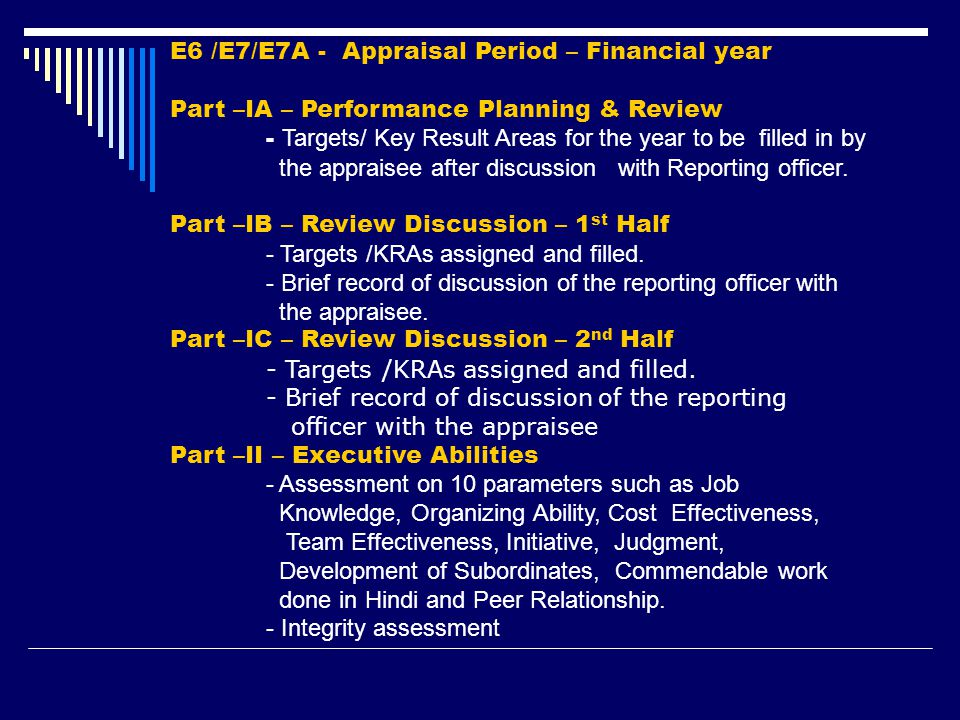 E6 /E7/E7A - Appraisal Period – Financial year Part –IA – Performance Planning & Review - Targets/ Key Result Areas for the year to be filled in by th
