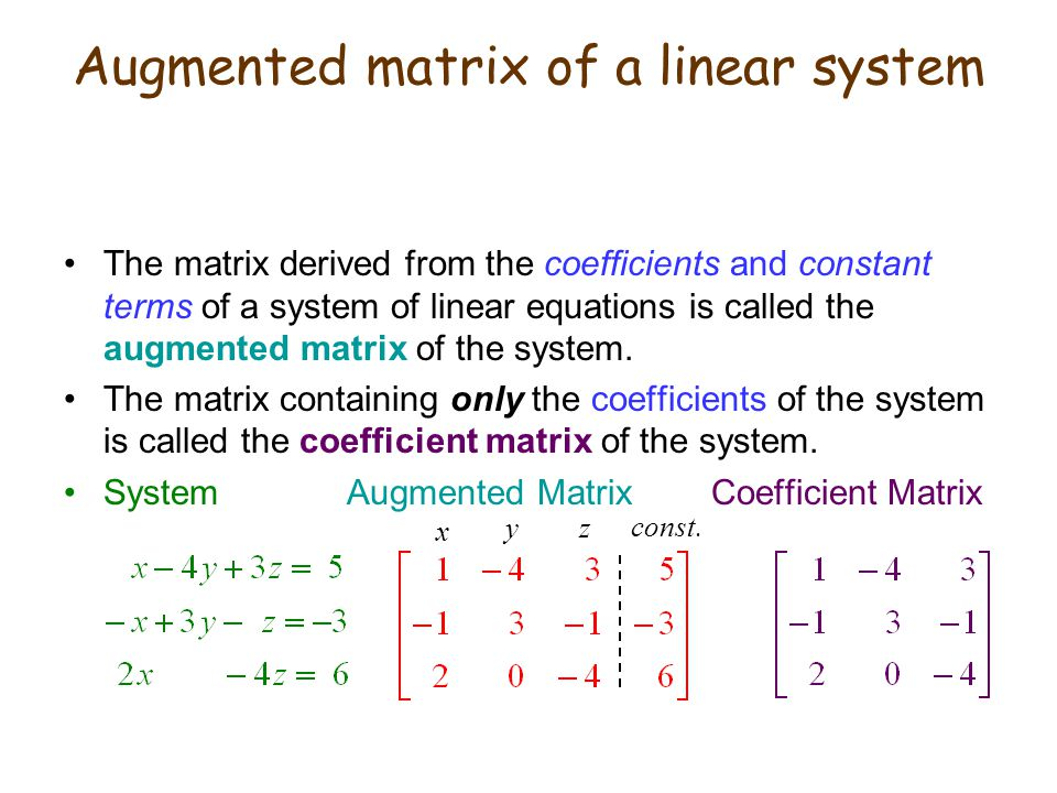 The matrix derived from the coefficients and constant terms of a system of linear equations is called the augmented matrix of the system. The matrix c