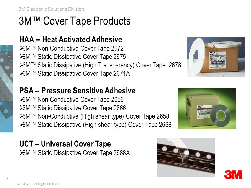 15 3M Electronic Solutions Division 3M™ Cover Tape Products HAA -- Heat Activated Adhesive  3M™ Non-Conductive Cover Tape 2672  3M™ Static Dissipative Cover Tape 2675  3M™ Static Dissipative (High Transparency) Cover Tape 2678  3M™ Static Dissipative Cover Tape 2671A PSA -- Pressure Sensitive Adhesive  3M™ Non-Conductive Cover Tape 2656  3M™ Static Dissipative Cover Tape 2666  3M™ Non-Conductive (High shear type) Cover Tape 2658  3M™ Static Dissipative (High shear type) Cover Tape 2668 UCT – Universal Cover Tape  3M™ Static Dissipative Cover Tape 2688A © 3M 2011.