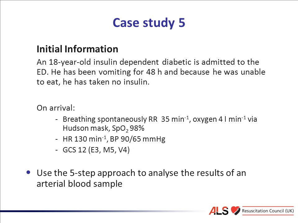 Case study 5 Initial Information An 18-year-old insulin dependent diabetic is admitted to the ED. He has been vomiting for 48 h and because he was una