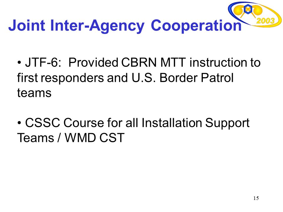 15 Joint Inter-Agency Cooperation JTF-6: Provided CBRN MTT instruction to first responders and U.S. Border Patrol teams CSSC Course for all Installati
