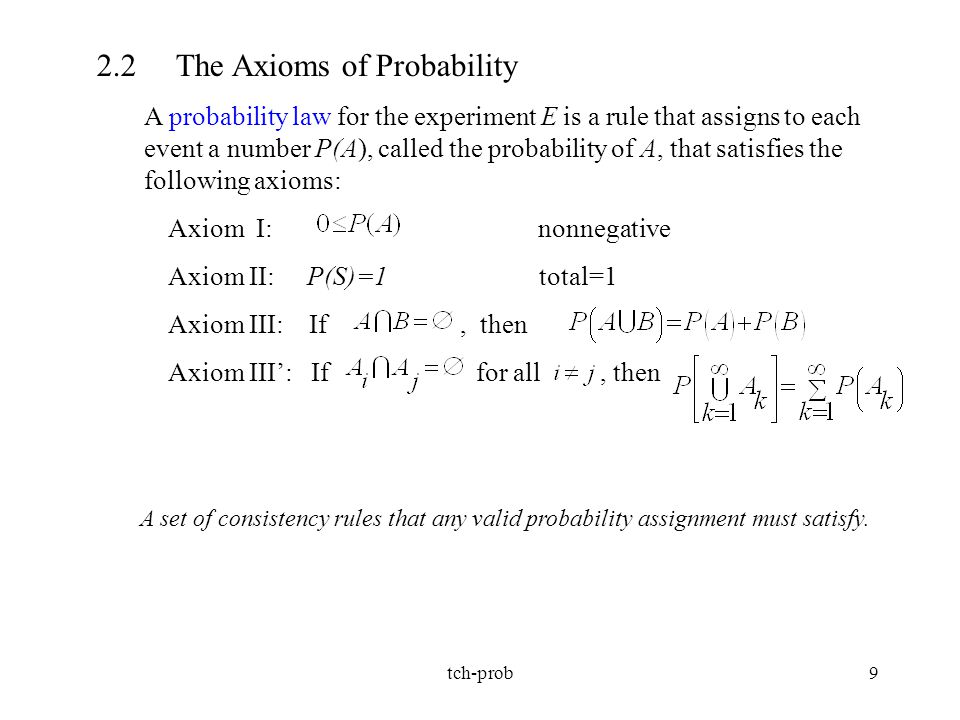 tch-prob9 2.2 The Axioms of Probability A probability law for the experiment E is a rule that assigns to each event a number P(A), called the probabil