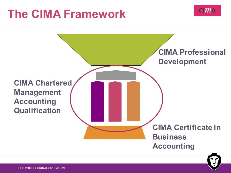 BPP PROFESSIONAL EDUCATION The CIMA Framework CIMA Certificate in Business Accounting CIMA Professional Development CIMA Chartered Management Accounting Qualification